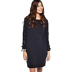 Miss Selfridge - Black lace up sleeve dress