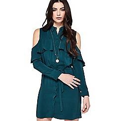 Miss Selfridge - Green cold shoulder dress