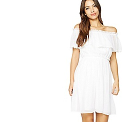 Miss Selfridge - White bardot frill dress