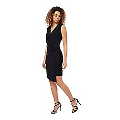 Miss Selfridge - Black drape front dress