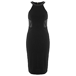 Miss Selfridge - Black pu panelled dress
