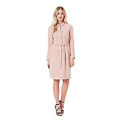 Miss Selfridge - Nude tie waist shirt dress
