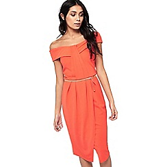 Miss Selfridge - Orange pleat bandeau wrap dress