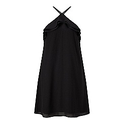 Miss Selfridge - Black ruffle halter dress