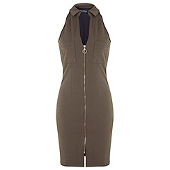 Miss Selfridge - Khaki zip front pencil dress