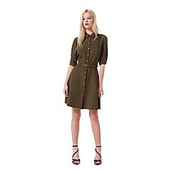 Miss Selfridge - Khaki half-sleeved shirt dress