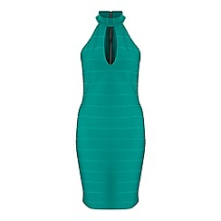 Miss Selfridge - Green plunge bandage dress