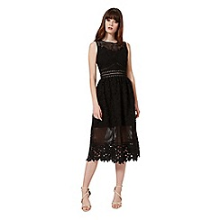 Miss Selfridge - Black mixed lace midi dress