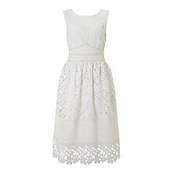 Miss Selfridge - White mixed lace midi