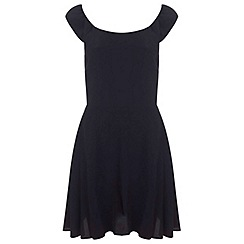Miss Selfridge - Black cross back skater dress