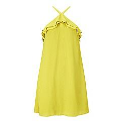 Miss Selfridge - Chartreuse ruffle halter dress