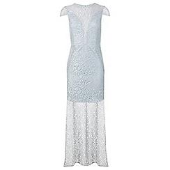 Miss Selfridge - Mint lurex lace maxi dress