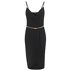 Miss Selfridge - Black wrap pencil dress