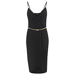 Miss Selfridge - Black wrap pencil dress