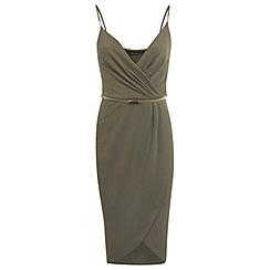 Miss Selfridge - Khaki wrap pencil dress