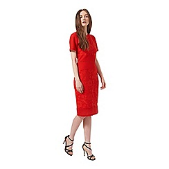 Miss Selfridge - Red mixed lace pencil dress