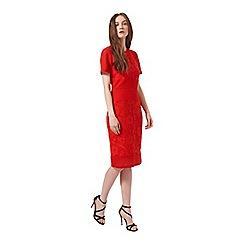 Miss Selfridge - Red mixed lace pencil dress