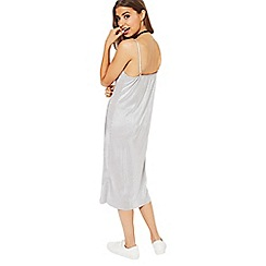 Miss Selfridge - Silver pleated slip midi dress