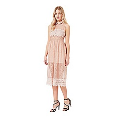 Miss Selfridge - Nude collar lace prom dress