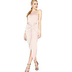 Miss Selfridge - Pink twist drape maxi dress