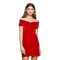 Miss Selfridge - Red sweetheart velvet dress