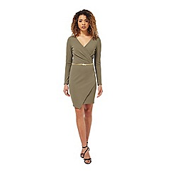 Miss Selfridge - Khaki long sleeve dress