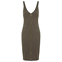 Miss Selfridge - Rib zip front dress