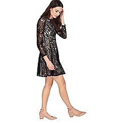 Miss Selfridge - Black long sleeve lace skater