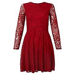 Miss Selfridge - Burgundy lace skater dress