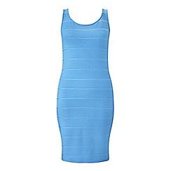 Miss Selfridge - Blue rib scoop bandage dress