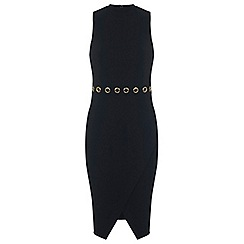 Miss Selfridge - Black eyelet wrap dress