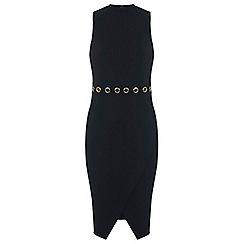Miss Selfridge - Black eyelet wrap dress