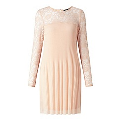 Miss Selfridge - Nude lace sleeve pleated mini