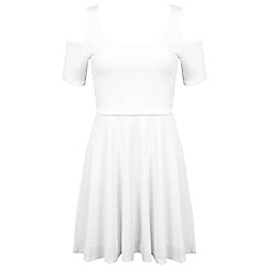 Miss Selfridge - White cold shoulder skater