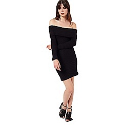 Miss Selfridge - Khaki ribbed bardot dress