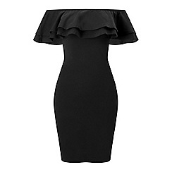 Miss Selfridge - Black ruffle bardot bodycon