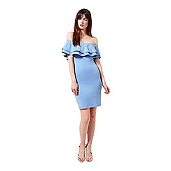 Miss Selfridge - Blue ruffle bardot bodycon