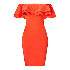 Miss Selfridge - Red ruffle bardot bodycon