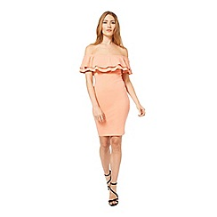 Miss Selfridge - Peach ruffle bardot bodycon