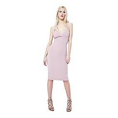 Miss Selfridge - Lilac rib plunge bodycon dress