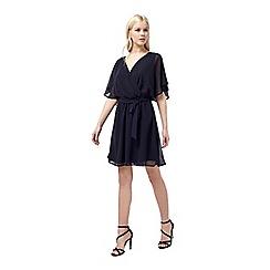 Miss Selfridge - Navy wrap lace back dress