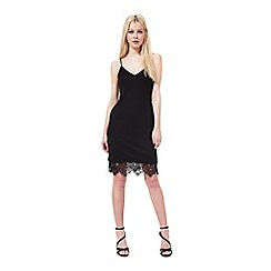 Miss Selfridge - Black lace hem slip dress