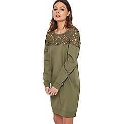 Miss Selfridge - Khaki lace yoke sweat dress