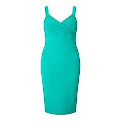 Miss Selfridge - Green wrap rib bodycon dress