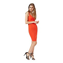 Miss Selfridge - Red wrap front rib bodycon