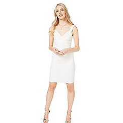 Miss Selfridge - Ivory wrap rib bodycon dress
