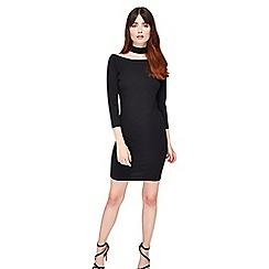 Miss Selfridge - Black choker high neck dress