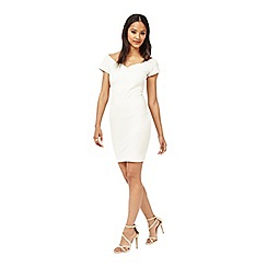 Miss Selfridge - Cream scallop bodycon dress