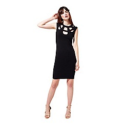 Miss Selfridge - Black caged neck bodyon dress