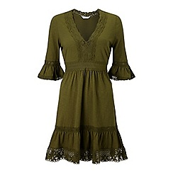 Miss Selfridge - Khaki crochet dress